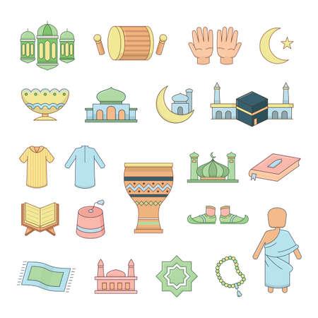 Islamic icons set, vector illustration.