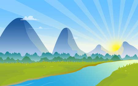 Mountains landscape with sunrise on the horizon. Illustration