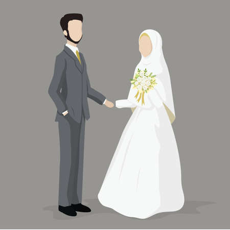 Muslim Wedding Couple, Bride and Groom  Vector Cartoon.