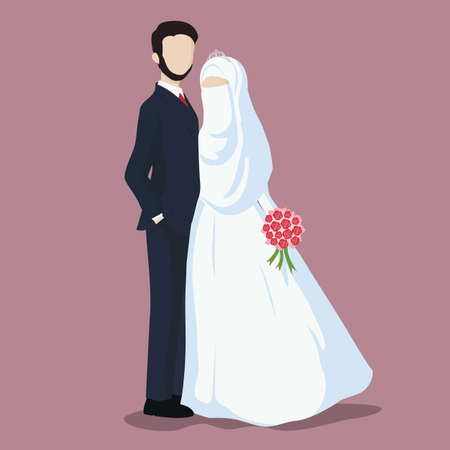 Illustration of Bride and Groom, Wedding Couple Cartoon Vector.