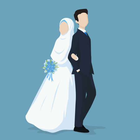 Moslim bruid en bruidegom Vector Cartoon afbeelding.