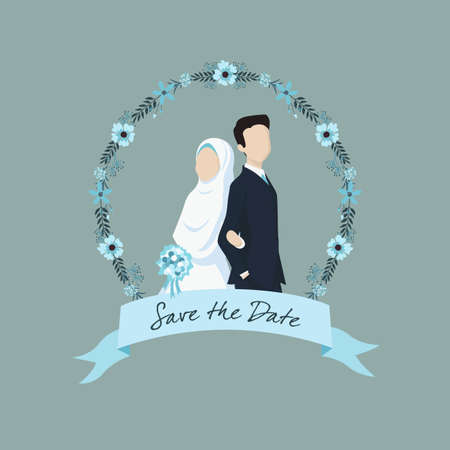 Muslim Bride and Groom Illustration with Ribbon Label and Flower Ornaments. Vettoriali