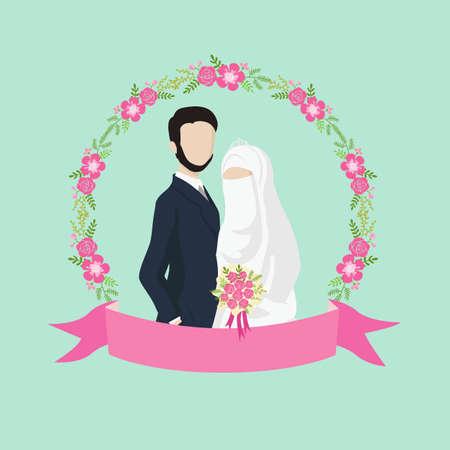 Ilustración de pareja de boda musulmana con etiqueta de cinta y adornos florales. Ilustración de vector
