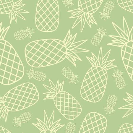 Pineapple seamless pattern in line style vector illustrator. Stock Illustratie
