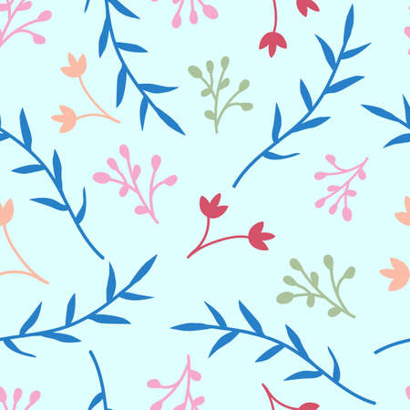 Floral seamless pattern with light blue background, simple flowers pattern for paper, fabric, wallpaper ed backdrop, decoration design element.