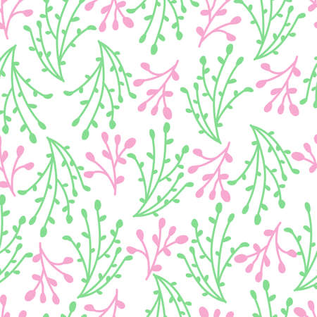 Seamless pattern design of pink and green branches, floral decorative vector background. Stock Illustratie
