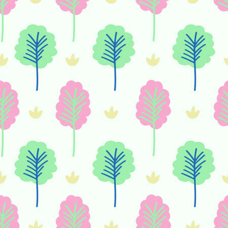 Seamless pattern design of cute trees on white background, vector illustration.
