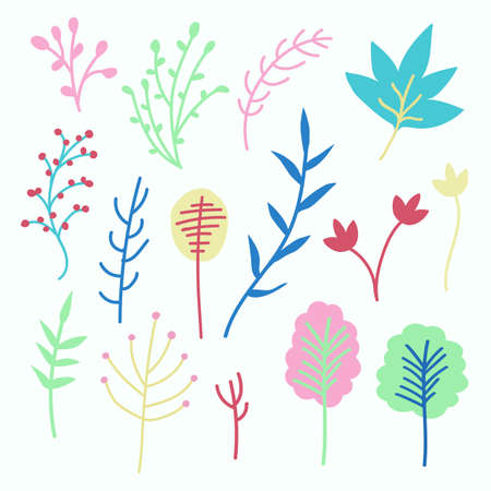 Vector floral set, colourful cute flower, leaves and branches, vector illustration.