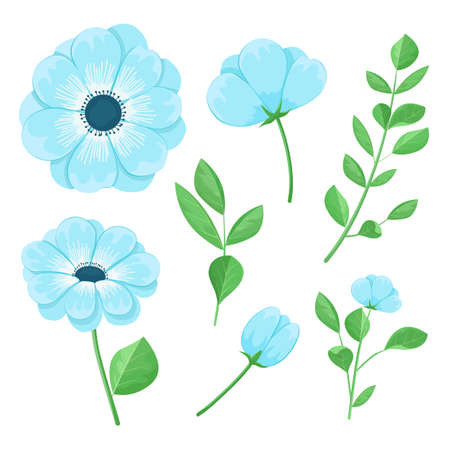 Set of beautiful blue flowers, leaves and buds, vector illustration. Stock Illustratie