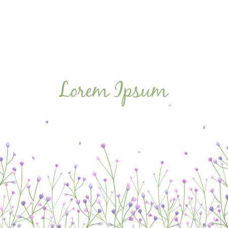 Floral greeting card with leaves and flowers in white background.