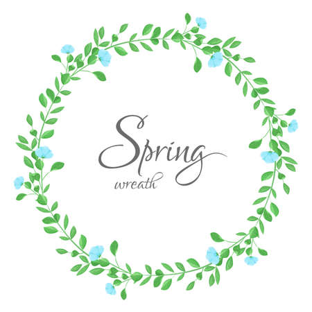 Wreath of floral with blue flowers, leaves and branches in white background. Stock Illustratie