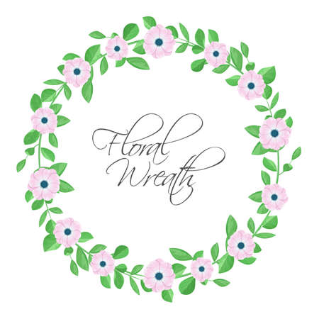 Floral wreath with pink flowers. Stock Illustratie