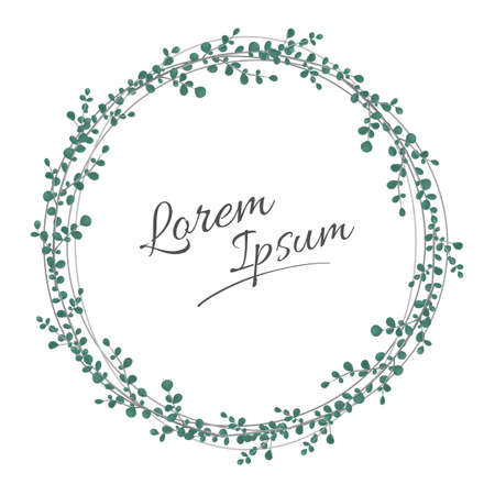 Wreath of floral with leaves and branches in white background.