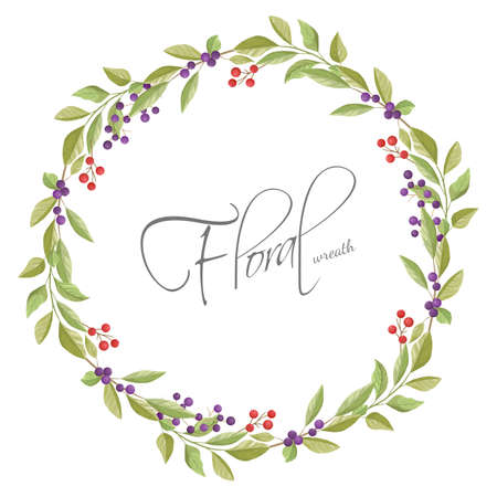 Floral wreath with leaves and branches in white background.