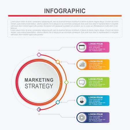 Infographic template with 5 options for diagram, graphic, chart, annual report, workflow and business presentation. Illustration