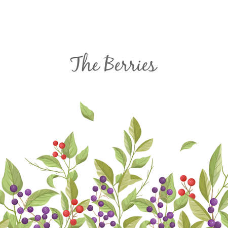 Floral greeting card with leaves, branches and berries in white background.