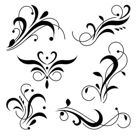 Royal ornament swirls, flourish corners and borders. Classic ornamental design element. Illustration