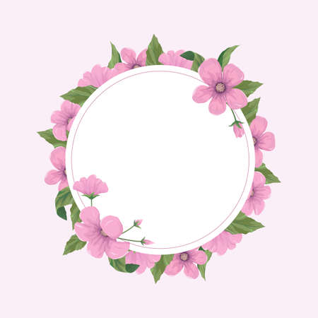 Floral greeting card template with pink flowers.