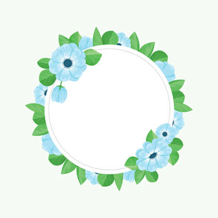 Floral greeting card template with blue flowers.