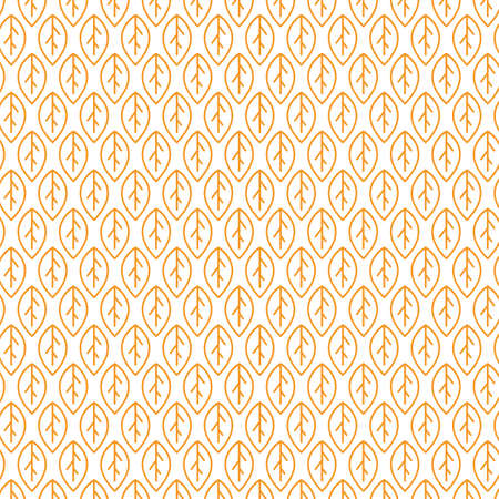 Leaves seamless pattern in line style, vector background. Illustration