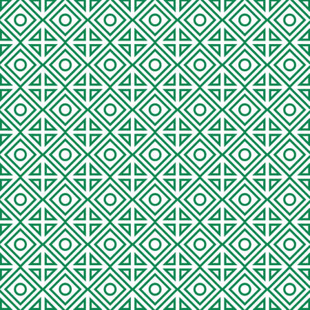Geometric green seamless pattern with rhombuses and circles. Illustration