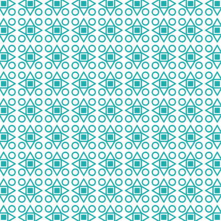 Geometric seamless pattern, vector background with circle, triangles and rhombuses.
