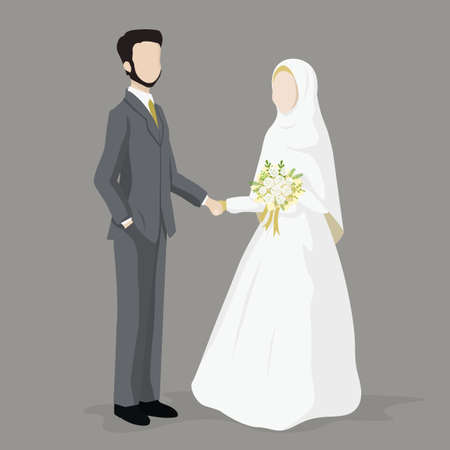 Bride and Groom, vector illustration of Islamic wedding character.