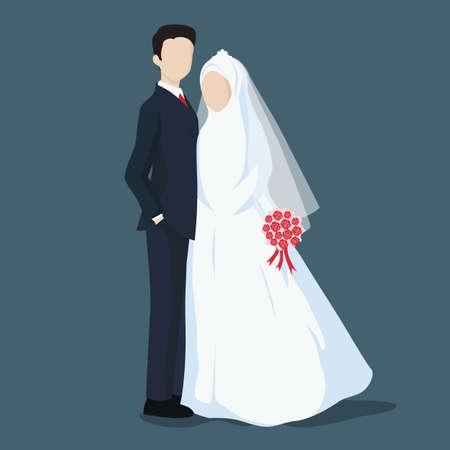 Novia y el novio, personaje de dibujos animados de boda con hijab.