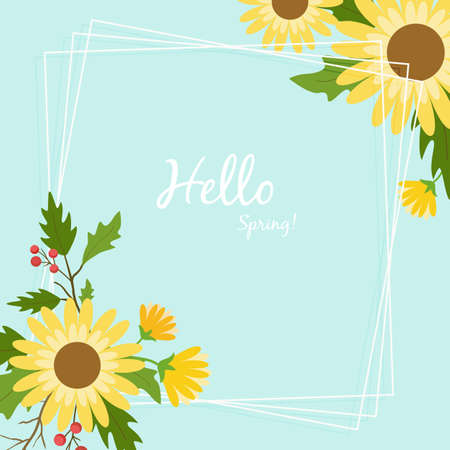 Hello spring floral greeting card, template design for invitation, frame and banner. Illustration
