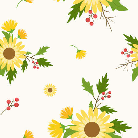 Floral seamless pattern with daisy flowers with white background.
