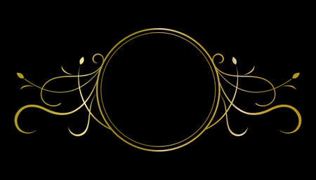Elegant gold circle frame, decorative element design. Illustration