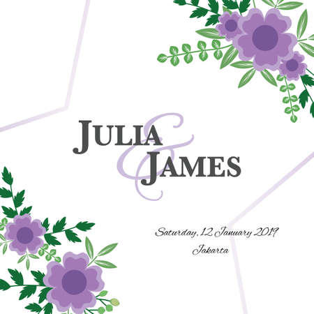 Floral wedding invitation template with purple flowers.