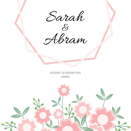 Floral wedding invitation template with cute pink flowers.