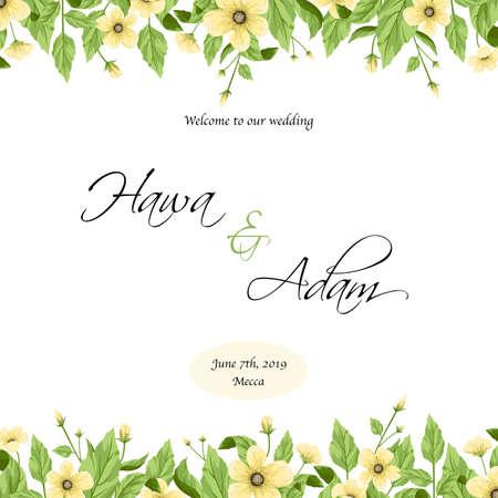Disegno del modello di invito a nozze con fiori gialli.