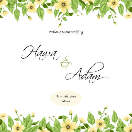 Wedding invitation template design with yellow flowers.