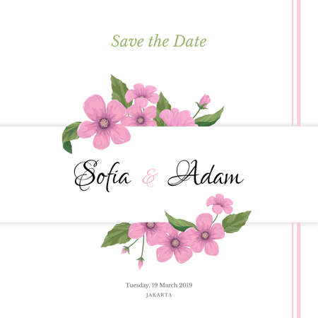Wedding invitation template with pink flowers.