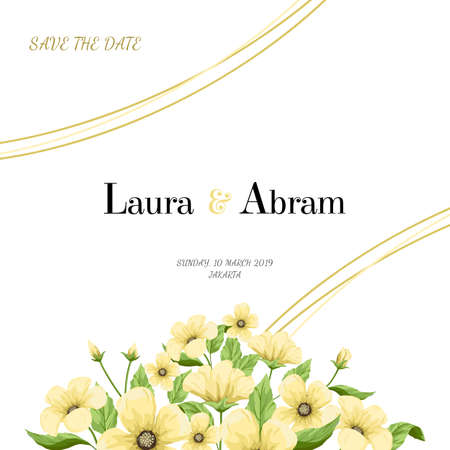 Wedding invitation template with yellow flowers. Illustration