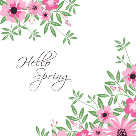 Greeting card design template with pink flowers ornament vector illustration.