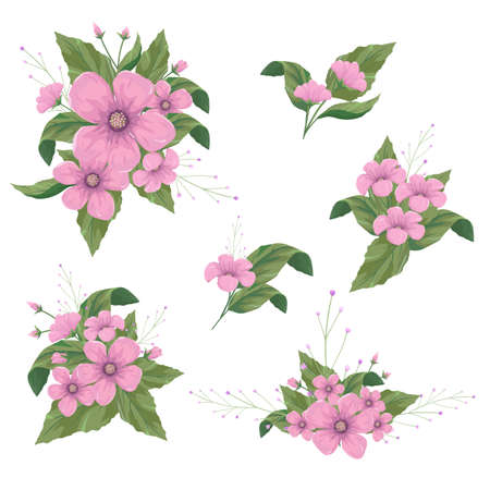 Flowers arrangements for decorative design elements. Illustration
