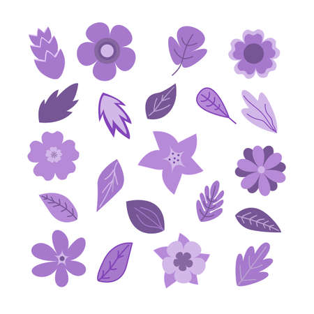 Floral clip arts in flat style wit flowers and leaves vector illustration Illustration