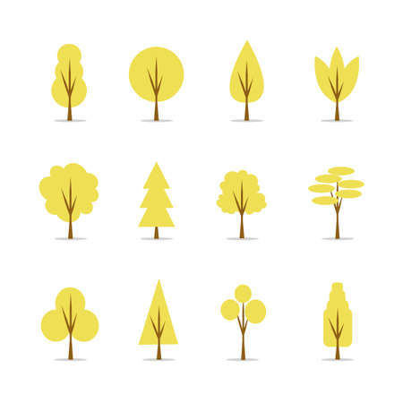 Collection of autumn trees Illustration, natural flat design elements.