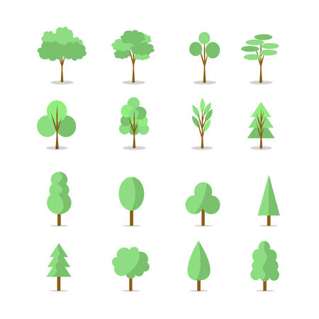 Green trees Illustration set, natural  flat design elements. Illustration