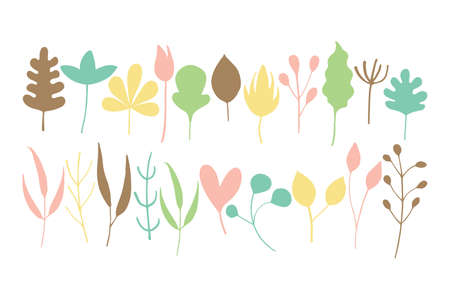 Colourful cute leaf clip arts set vector illustration. Different shapes floral elements design.