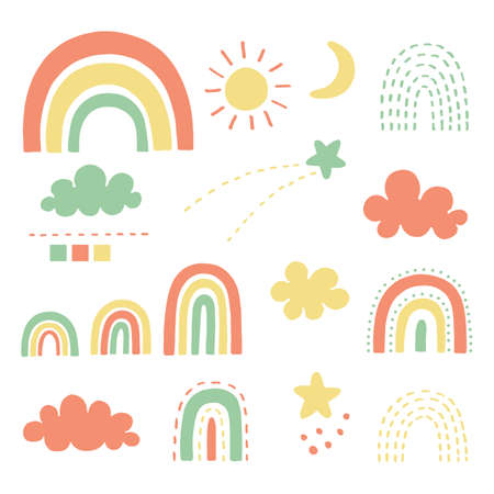 Doodles rainbow set vector illustrator. Cute clip arts of rainbow, clouds, stars, sun and crescent moon.
