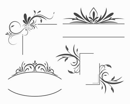 Floral Frames and Borders, Ornamental design elements. Illustration