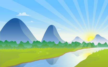 Beautiful mountain landscape with sunrise over sky and river flow across the green meadow, tranquil natural view vector illustration.