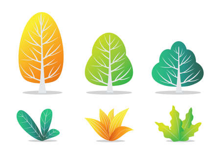 Vector illustration of autumn trees and bushes