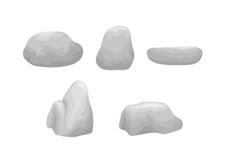 Vector illustration of rocks and stones, isolated natural elements in different shapes