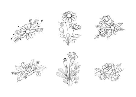 Set of Hand Drawn Line Art Flower Bouquet