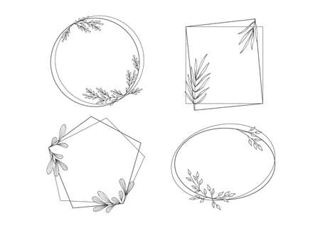 Floral Frames with Hand Drawing Leaves Ornaments Illustration
